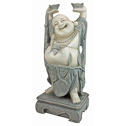 Design Toscano Jolly Hotei Laughing Buddha Asian Decor Garden Statue, 25 Inch, Polyresin, Two Tone Stone