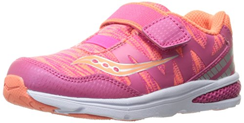 Saucony Kids' Baby Ride Pro Running-Shoes,Coral/Multi,8 Medium US Toddler