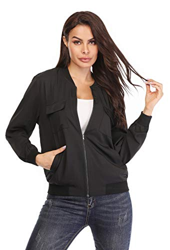 MISS MOLY Women's Bomber Jackets Casual Zipper Lightweight Coat Long Sleeve Bomber Outwear Jacket with Pockets-Black XS Bomber Long Sleeve T-shirt