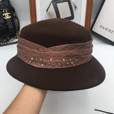 LoLa Ling Winter Hats for Women About The New Wool Basin Fisherman hat Bright Drill Socialite Pearl Joker Dome Bucket Hats Fedoras (Hat Drill Wool)