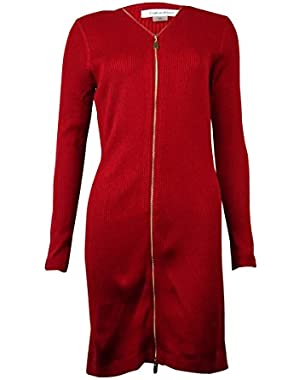 Womens Petites Long Sleeves Ribbed Sweaterdress Red PM