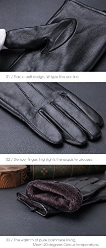 Harrms Best Touchscreen Nappa Genuine Leather Gloves for men's Texting Driving Gift Option (L-8.9''(US Standard Size), BLACK) by Harrms (Image #6)