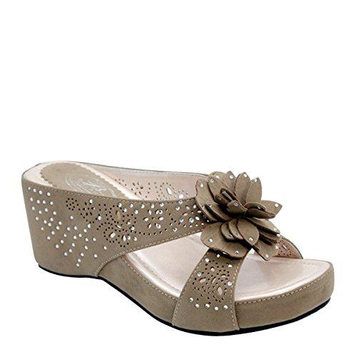 Gloednieuwe Dames Bezaaid Bloem Slippers Platform Schoenen (naakt)