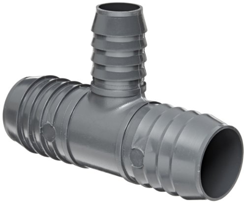 Spears 1401 Series PVC Tube Fitting, Tee, Schedule 40, Gray, 1