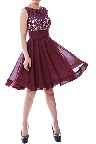 Gown Prom Chiffon Violett Cocktail Formal Party Short Beaded MACloth Dress Lace Women vwqOOxU