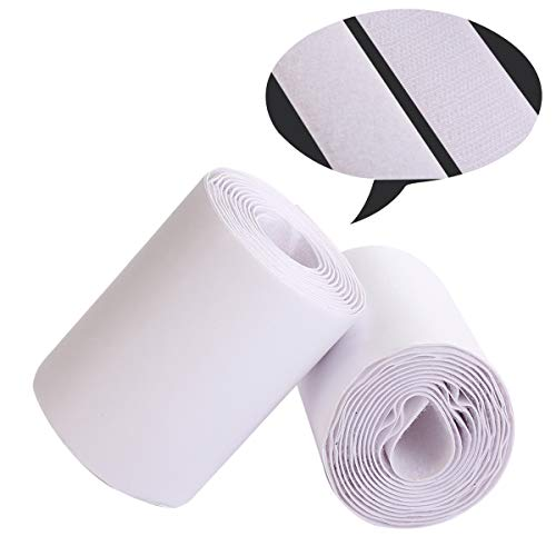 - Self Adhesive Hook and Loop Tape Roll 4 Inch White Sticky Back Strip Tape Fastener Strong Adhesive Interlocking Tape for Picture and Tools Hanging Pedal Board Fastening 3 Yard
