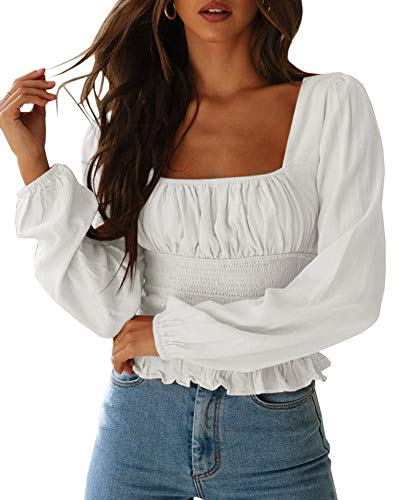CNJFJ Women's Sexy Frill Smock Crop Top Retro Square Neck Long Sleeve Shirred Blouse Tops White
