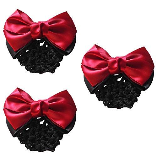 MOTZU 3 Pieces Bowknot Snood Net Barrette Hair Clip Bun Cover Hairnet Lace Bow Decor for Woman, Color Red
