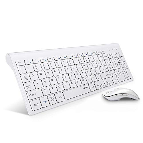 TopMate KM9001 Wireless Keyboard and Mouse Combo| Ultra Slim Portable | Designed for Office and Home | White