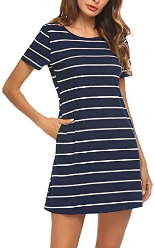 Feager Women's Casual Striped Criss Cross Short Sleeve T Shirt Dress with Pockets
