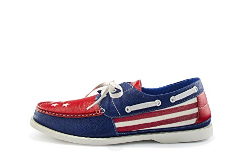 Starboard Shoes Patriotic Boat Shoes - Extremely Comfortable Loafers for Men and Women - Slip on Shoe for Boats, Beach, & Holiday Celebrations | American Flag Sneaker is Red, White, & Blue - Size: 9.5 -