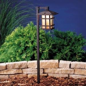 KICHLER 15322AGZ Cross Creek Lantern 1LT Incandescent/LED Hybrid Low Voltage Landscape Path and Spread Light, Aged Bronze Finish with Textured Linen Seedy Glass by