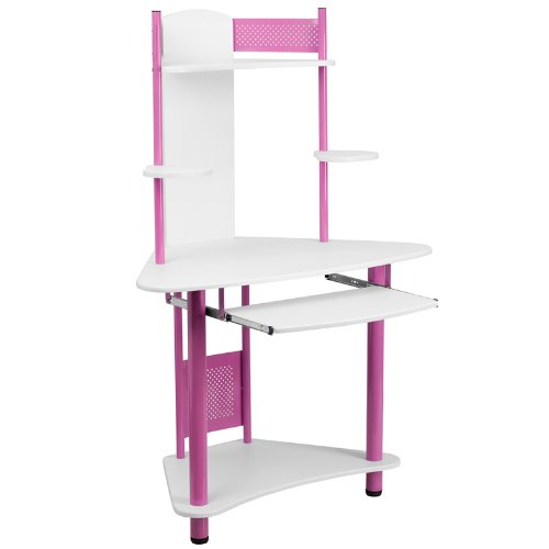 Flash Furniture Pink Corner Computer Desk with Hutch - Furniture Hutch