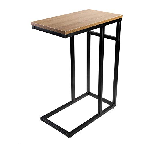 Homemaxs Sofa Side End Table C Table Small, Snack Table with Wood Finish and Steel Construction for Coffee, Snack, Tablet … ()
