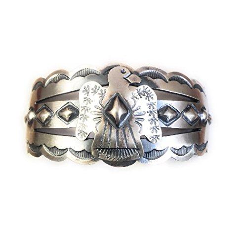 Nizhoni Traders LLC Navajo Sterling Silver Thunderbird Cuff Bracelet Signed from Nizhoni Traders LLC