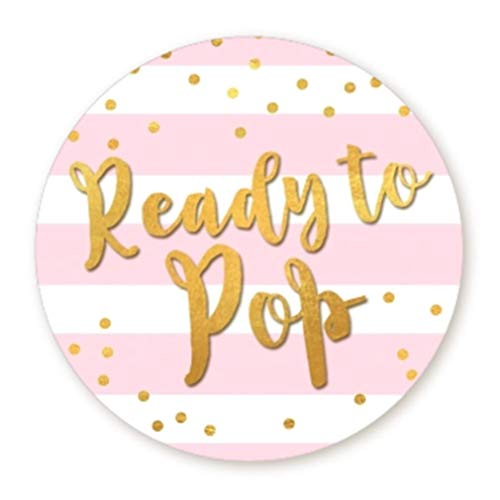(Ready to Pop Stickers | Faux Metallic Gold | Many Sizes & Colors to Choose from | Ready To Pop Baby Shower Stickers for Popcorn | Ready to Pop Stickers for a Boy or Girl (Pink, 2.0