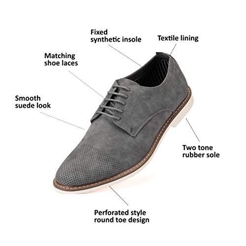 Mens Casual Shoes, Suede Oxford Business Dress Shoes for Men - Gray - 10 D(M) US