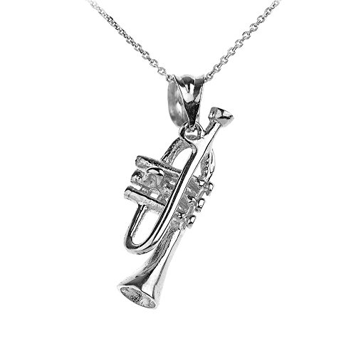 925 Sterling Silver Trumpet Music Charm Pendant Necklace, 16""