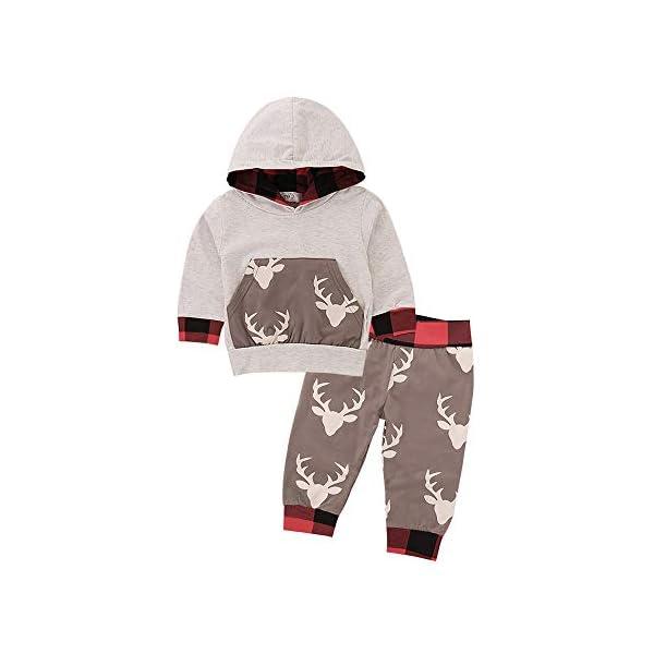 Kerrian Online Fashions 41mPABEtmFL Baby Boy Clothes Bear Deer Printed Long Sleeve Hoodie Tops +Red Plaid Pants Outfit Set