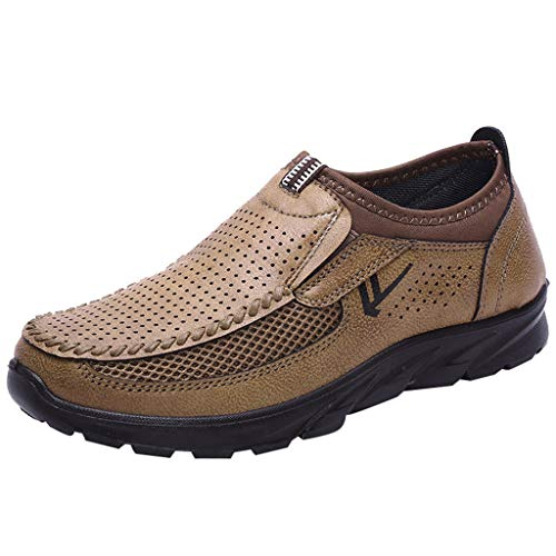 Mens Slip-On Thick Bottom Flat Shoes Breathable Comfortable Mesh Loafers - Loafer Coffee