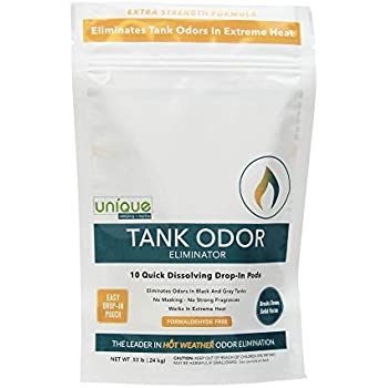 Unique Tank Odor Eliminator - Drop-In Pod - Pack of 10 | Hot Weather Formula - Eliminates Odors In Extreme Heat