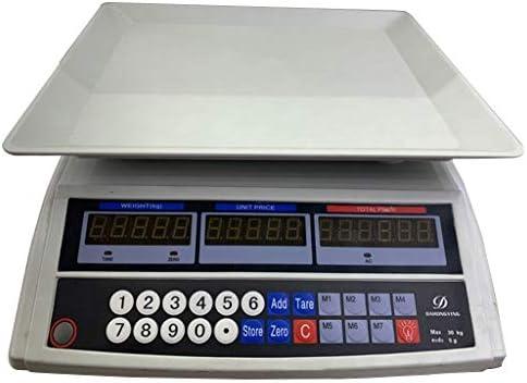 WCX Elektronische Waage Preisrechenwaage, 30kg/5g Digitale Edelstahl Waage Industrie Preisgestaltung Elektronische...