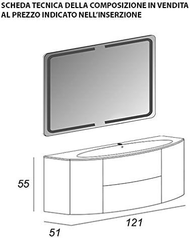 Mueble baño suspendido moderno Eden Push gris topo, talla CM 120, con espejo de LED y lavabo de cristal: Amazon.es: Hogar