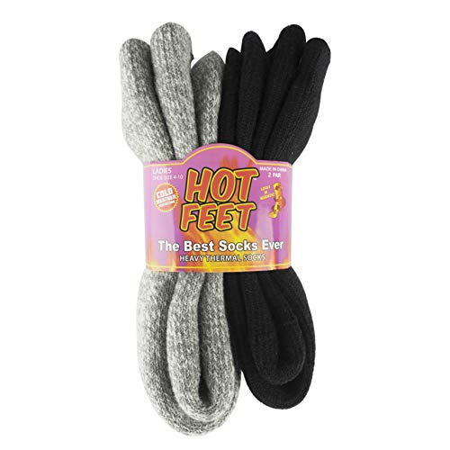 - Hot Feet Women's 2 Pairs Heavy Thermal Socks - Thick Insulated Crew for Cold Weather; Sock Size 9-11, Shoe Size 4-10.5 (Black/Gray Marl)