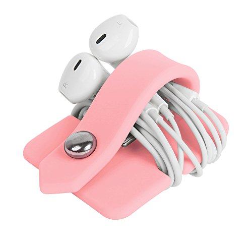 ELFRhino Silicone Earphone Organiser Earphone Wrap Winder Headphone Cord Organiser Wrap Winder Manager/Cable Winder Pink