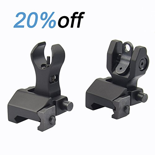 Fyland Flip Up Iron Sights Back Up Battle Front and Rear Sight Set BUIS Black by Fyland