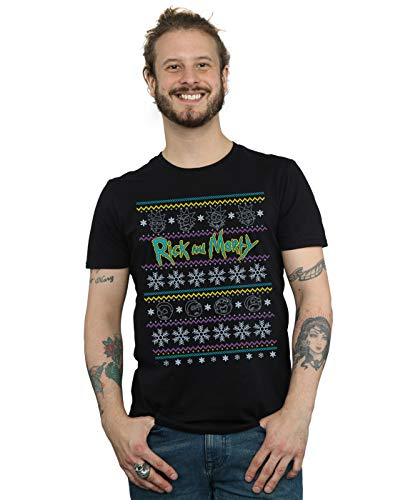 Faces Maglietta Homme Rick Noir Christmas Absolute T shirt Morty Cult And 60qrW4A0w