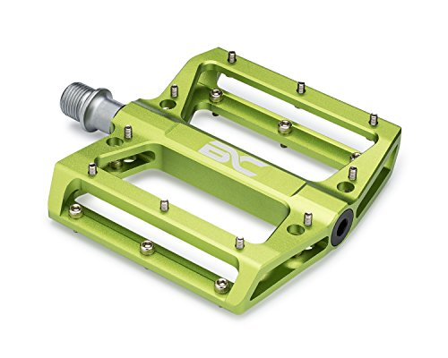 Lightweight Aluminum Bike Pedals By Bc Bicycle Company   Great For Mtb  Bmx  Downhill   Wide Flat Platform With Removable Grip Pins   9 16  Cr Mo Spindle   Green