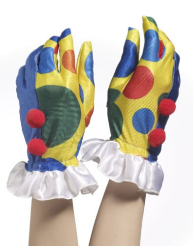 Clown with Pom Poms Gloves; One Size - Clown Gloves