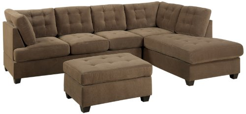 Bobkona Michelson 3-Pieces Reversible Sectional, Chaise and Loveseat with Ottoman