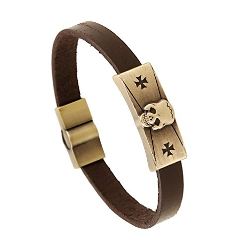 Mens Metal Skull Heads Little Crosses Brown Leather Chunky Bracelet Fashion Style (Homemade Egyptian Costume For Boys)