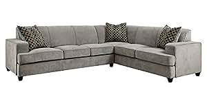 Coaster 500727 Tess Sectional Sofa Grey Microvelvet Fabric Upholstery