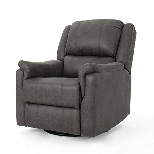 Christopher Knight Home Jemma Swivel Gliding Recliner Chair, Slate (Chairs For Leather Room Swivel Living)