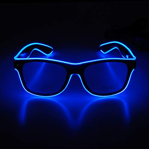 Aquat Light up El Wire Neon Rave Glasses Glow Flashing LED Sunglasses Costumes For Party, EDM, Halloween RB01 (Blue, Black Frame)]()