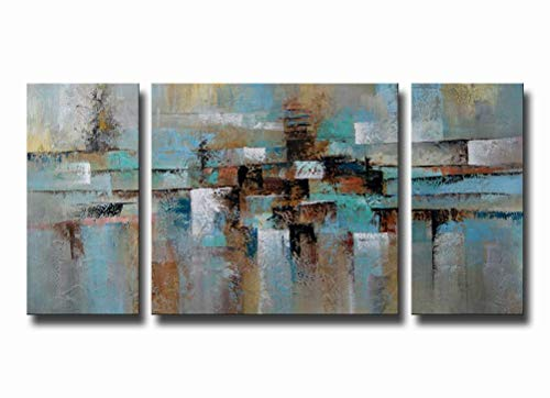 Abstract Wall Art Large100% Hand-Painted Oil Painting on Canvas Gallery-Wrapped 3 Piece for Living Room Bedroom Modern Framed Teal Blue Brown 24x48inches