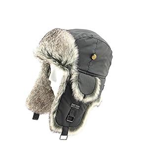 FUR WINTER Taslon Faux Fur Aviator Ski Trapper Trooper Pilot Hat