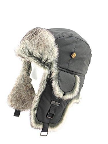 FUR WINTER Taslon Faux Fur Aviator Ski Trapper Trooper Pilot Hat CAC S/M