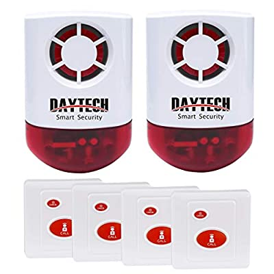 Daytech Wireless Strobe Siren Alarm Home Caring Loud Outdoor SOS Alert System 2 Red Flashing Siren and 4 Emergency Button for Store Home Hotel Jewelry Shop Security & Fire Alarm