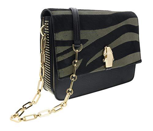 Roberto Cavalli HXLPG7 999 Black/Olive Shoulder Bag for Womens (Inspired Roberto Coin)