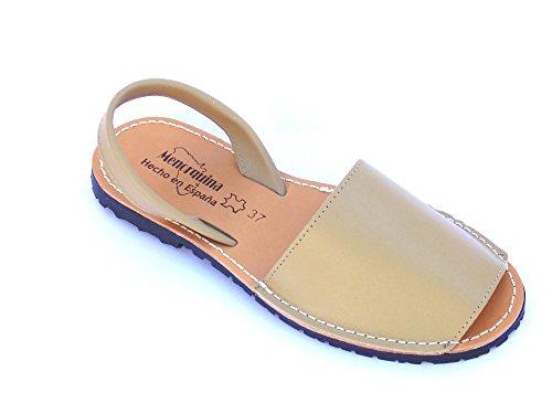 avarca -Abarca Braun Damen Leder eben original Sandalen Strand / Spanien