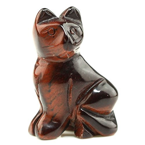 (Cat Figurine 40mm Hand Carved Red Tiger's Eye Gemstone Statue Stone Carving 1.6