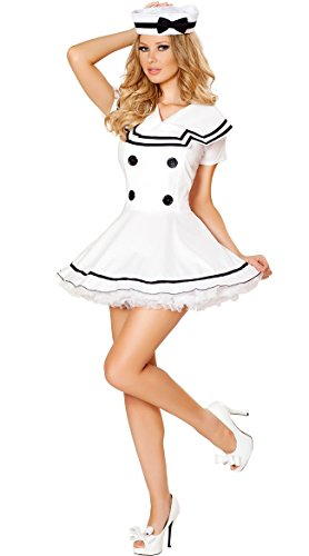 [Sexy Classic Navy Mariner Sailor Girl Dress Halloween Costume Outfit (M)] (Sailor Outfits For Ladies)