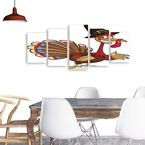 UHOO Landscape Artwork Canvas Prints Cartoon Turkey in Pilgrim hat Thanksgiving Vector Illustration.Home Decorations Wall Decor