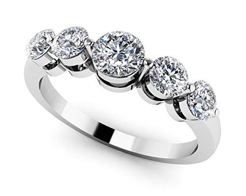 Or blanc 14K cinq sur rond Bande de diamant