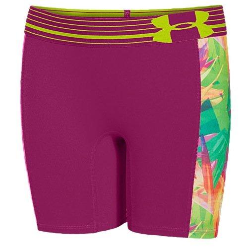 Under Armour Girls UA HeatGear Armour 5 Printed Short MD (10-12 Big Kids) X One Size Tropic Pink