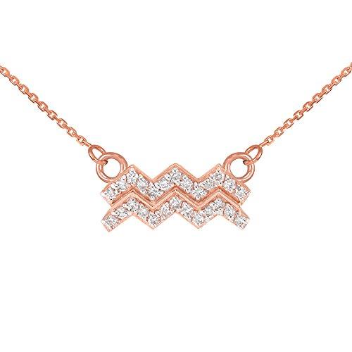 Collier Femme Pendentif 14 ct Or Rose Verseau Signe Du Zodiaque Diamant (Livré avec une 45cm Chaîne)
